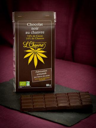 Chocolat noir chanvre biologique, tablette de 100 g
