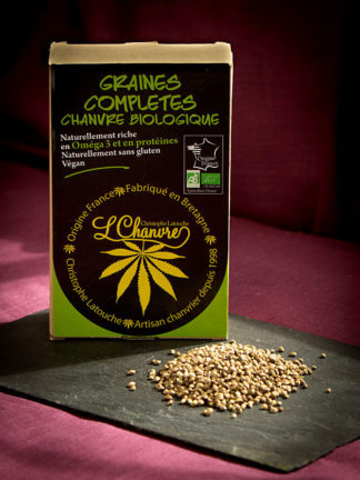 Graines complètes de chanvre biologique, sachet de 250 g
