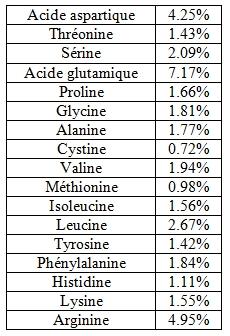 Acides aminés protéines de chanvre