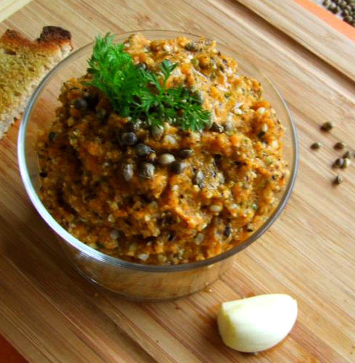 Caviar mousse de carottes au chanvre